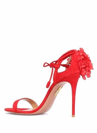 Aquazzura İnce Topuklu %100 Süet Sandalet Kırmızı